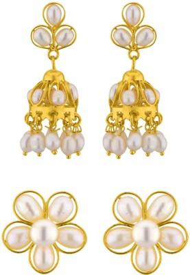 JPearls Set Of 2 Pearl Alloy Jhumki Earring