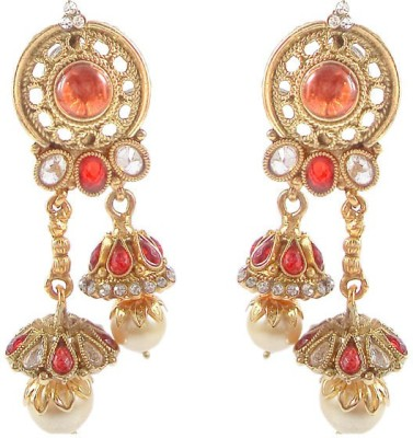 Kenza Pearl and Red Stone Alloy Jhumki Earrings Fashion Jewellery Pearl Alloy Jhumki Earring