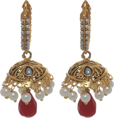 Gliteri hanging pearls and stone golden Copper Jhumki Earring