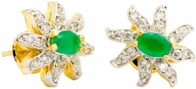YugshaJewels Elegant YJE-1359 Emerald, Cubic Zirconia Brass Stud Earring