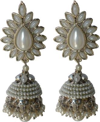 modifier WHITE SPARKLE Beads Alloy Jhumki Earring