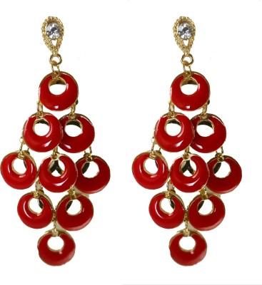 Modish Look Red Long Trendy Brass Dangle Earring