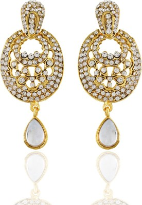 One Stop Fashion Fashionable and Elegant Gold Plated with White studed stones Alloy Earrings Alloy Drop Earring