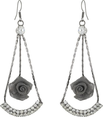 One Stop Fashion Graceful And Smart Grey Colour Rose With White Stones Alloy Dangle Earring