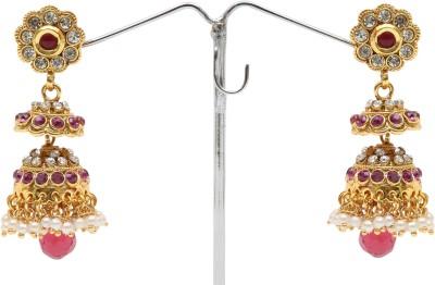 Donatella Sparkle Pearl, Cubic Zirconia, Quartz Brass Jhumki Earring