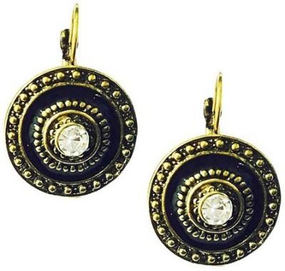 Bling-Bling Ethnic Black & Golden Alloy Huggie Earring