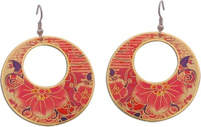The Fine World Floral fashion in golden metal with stunning shades of pink with touch of purple Zircon Brass Dangle Earring