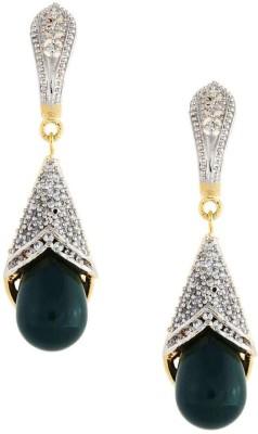 Amroha Crafts AD Green Alloy Drop Earring
