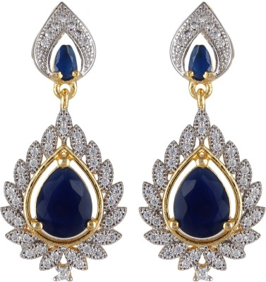Moda Stella Blue Blaze Brass Dangle Earring