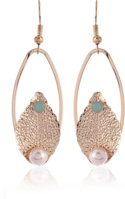 Thingalicious Trendy Leaf Pearl Oval Textured Alloy Drop Earring