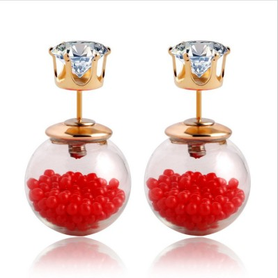 Lady Rainbow Red Tiny Beads Cubic Zirconia Alloy Stud Earring