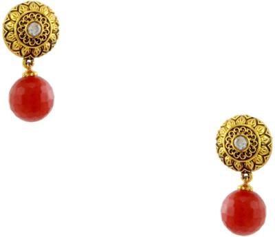 Orniza Rajwadi Earrings in Orange Color and High Gold Polish Brass Drop Earring
