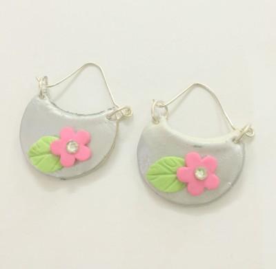 Craffiti Baali Style Pink Flower Clay Ceramic Chandbali Earring