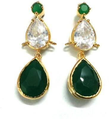 6 Lotus Designer Crystal Brass Drop Earring