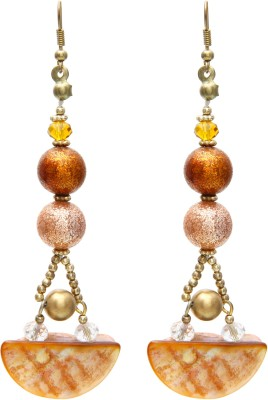 Galz4ever Brown Designer & Shell Alloy Dangle Earring