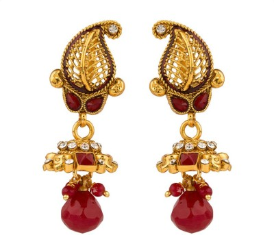 Rajwada Arts Paisley Golden Jali Work With Red Stones Brass Drop Earring
