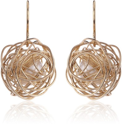 Thingalicious Webbed Wire Mesh Pearl Alloy Dangle Earring