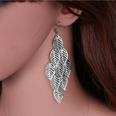 Aadalika Silver Plated 9 Saling Leaf Alloy Dangle Earring