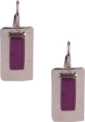Trinketbag Purple Square statement Alloy Hoop Earring