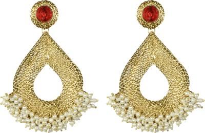 Indowave Splendid Golden Pearl Alloy Drop Earring