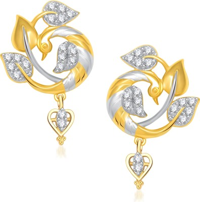VK Jewels Beautiful Feathers Of Mayur Cubic Zirconia Alloy Drop Earring