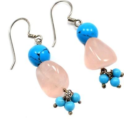 Silvesto India PG-677 Turquoise, Quartz Stone Dangle Earring