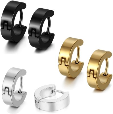 Vaishnavi First Quality Three Pairs Unisex Gold,Black,Silver Made Of Non-Allergic 316l Stainless Steel Huggie Earring at flipkart