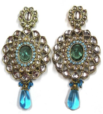Fusion Jewels ER-351 Turquoise Metal Drop Earring