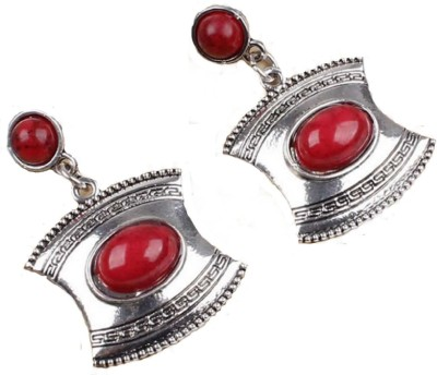 Bohocraft Bohemian Pretty Red Turquoise Silver Metal Drop Earring