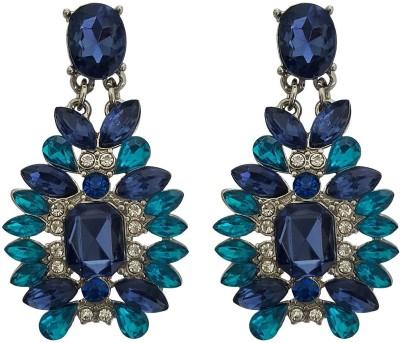 Mehrunnisa Elegant Two Tone Blue Crystal Metal Drop Earring