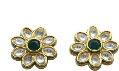 Waama Jewels Floral Kundan Bronze Stud Earring
