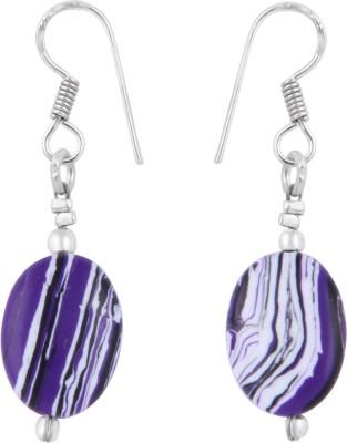 Pearlz Ocean 2.5 Inch Dyed Howlite Purple Oval Shaped Alloy Dangle Earring