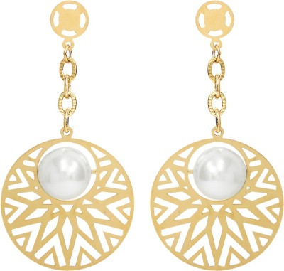 Sparkling Drop Spring Sparkle Pearl Stainless Steel Drop Earring
