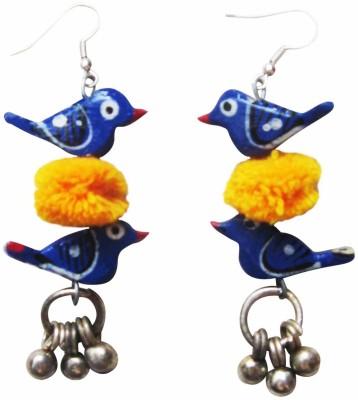 Juhi Malhotra Blue And Yellow Bird Wood Drop Earring
