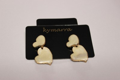Kymarra Hearty White Earrings Brass Earring Set