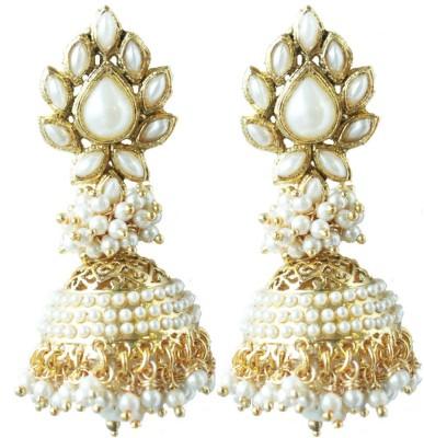 Aanjaneys Indian Ethnics Stylist Pearl Brass Jhumki Earring
