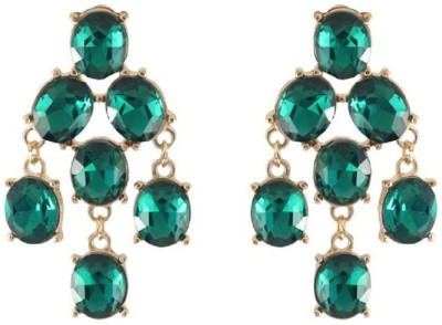 Oomph Gold & Green Crystal Fashion Jewellery for Women, Girls & Ladies Metal Dangle Earring