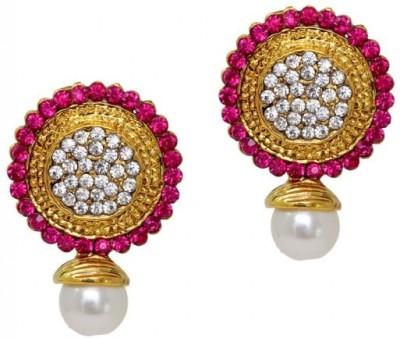 Jewelskaro Antique Designer fashion jewelry designs Round Shape Rani Colour Pearl Pearl, Beads Brass Stud Earring
