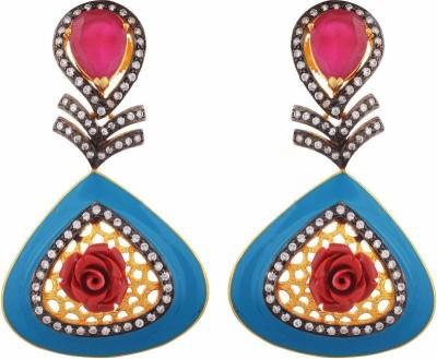 TUAN Charming Dangle Diamond, Cubic Zirconia, Ruby Brass Drop Earring