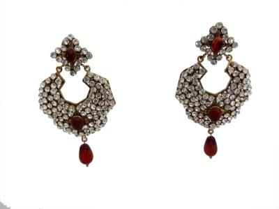 W Stop American Diomand Crystal Brass Chandbali Earring