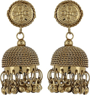 Aadyaa Collections Golden Charm Alloy Jhumki Earring