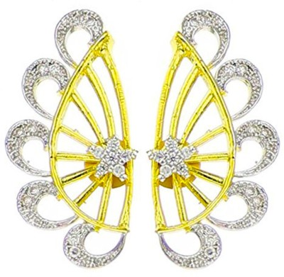 Bandish Gold toned American Diamond Circular Pattern Cubic Zirconia Alloy Cuff Earring