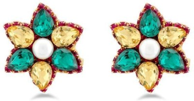 Jazz Jewellery Unique Fancy Flower Design Gold Plated Green and Yellow Stone Earring for Wedding Alloy Drop Earring