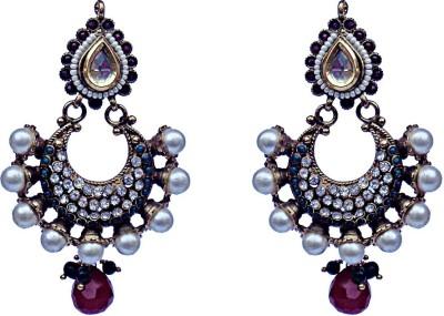 Kundaan Traditional Polki Crystal Copper, Brass Chandbali Earring