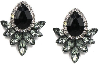 S AND R FASHIONS Round Black Crystal Crystal Alloy Stud Earring
