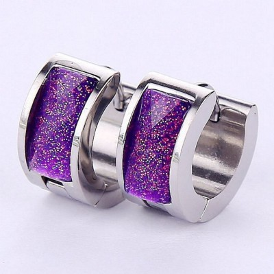 Ruvee Royal Purple Sapphire Steel Stud Earring