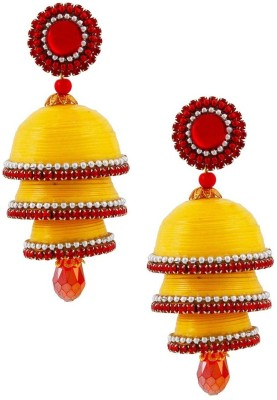 Jaipur Raga Pretty Yellow Handcrafted Triple Jhumka Brass Jhumki Earring