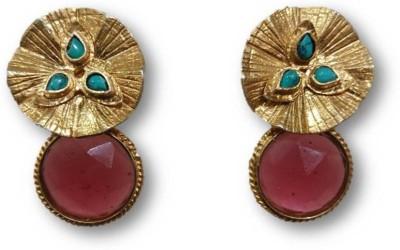 Rajgharana Pink Button Cubic Zirconia Alloy Stud Earring