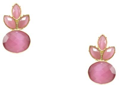 Orniza CZ Diamond Fancy in Pink and Golden Brass Stud Earring