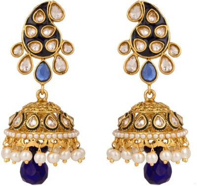 Rajwada Arts Traditional Blue And White Color Brass Jhumki Earring